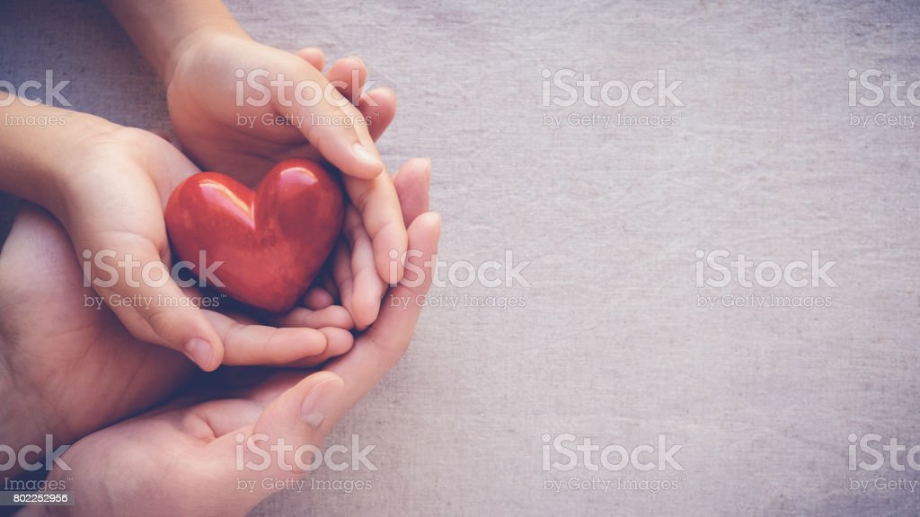 adult and child hands holding red heart, health care love and family concept stock photo