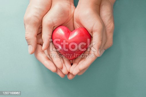 Adult and child hands holding Red heart , heart health, donation, happy volunteer charity, CSR social responsibility,world heart day, world health day,world mental health day,family day,foster home, organ donor day