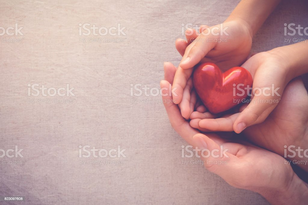 adult and child hands holiding red heart, health care love and family concept stock photo