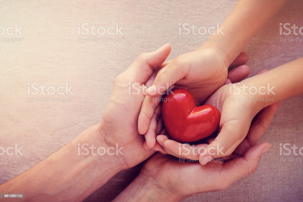 adult and child hands holiding red heart, health care love, give, hope and family concept stock photo