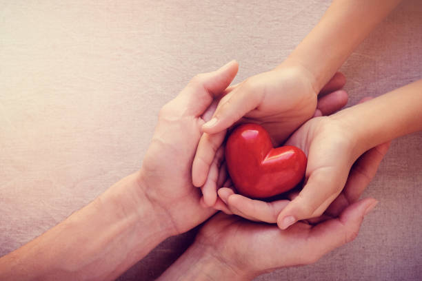 adult and child hands holiding red heart, health care love, give, hope and family concept - foto stock