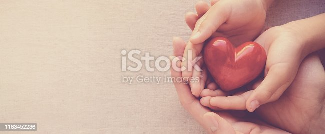 adult and child hands holiding red heart, heart health and donation concept
