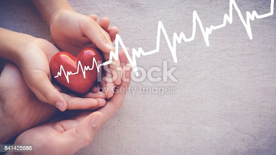istock adult and child hands holiding red heart with cardiogram, health care love and family concept 841425586