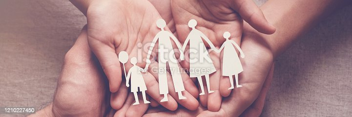 istock Adult and children hands holding paper family cutout, family home, adoption, foster care, homeless support, family mental health, autism support, domestic violence concept 1210227450
