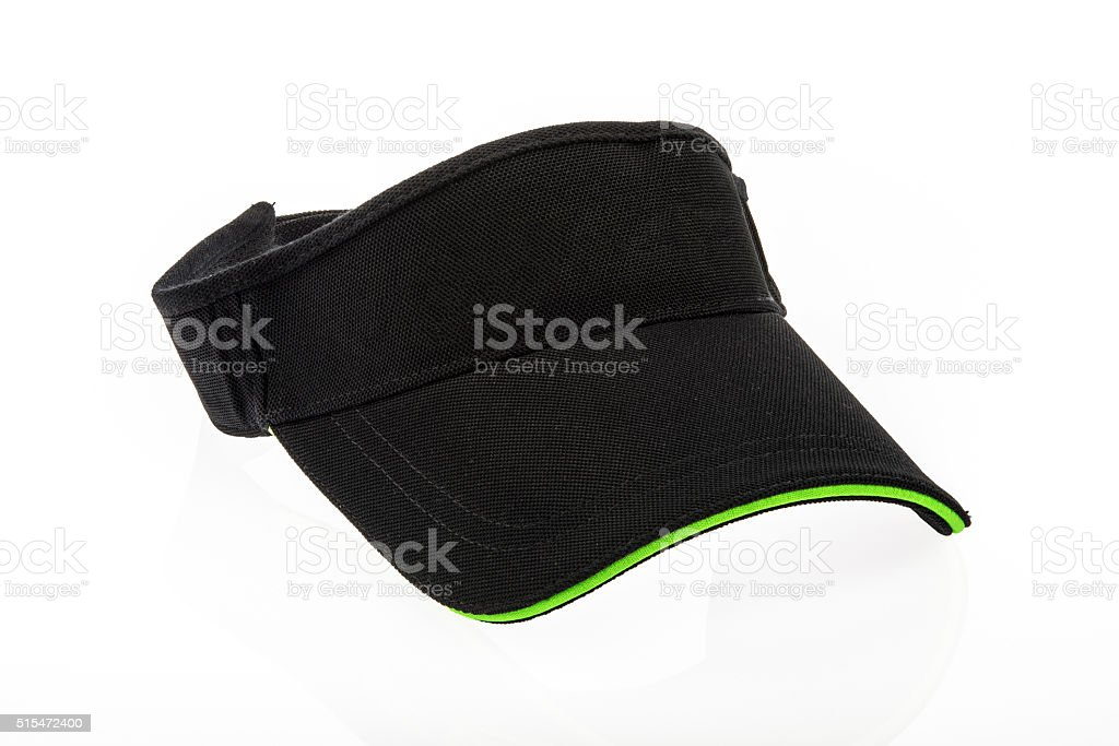 Adult black golf visor stock photo