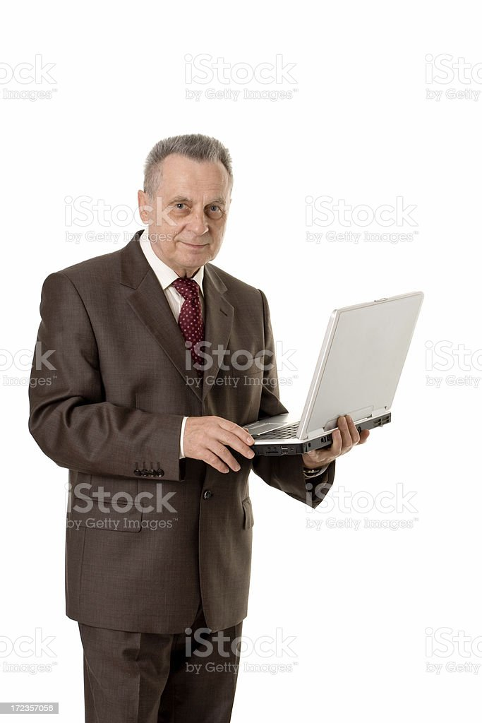 adult businessman with laptop royalty-free stock photo