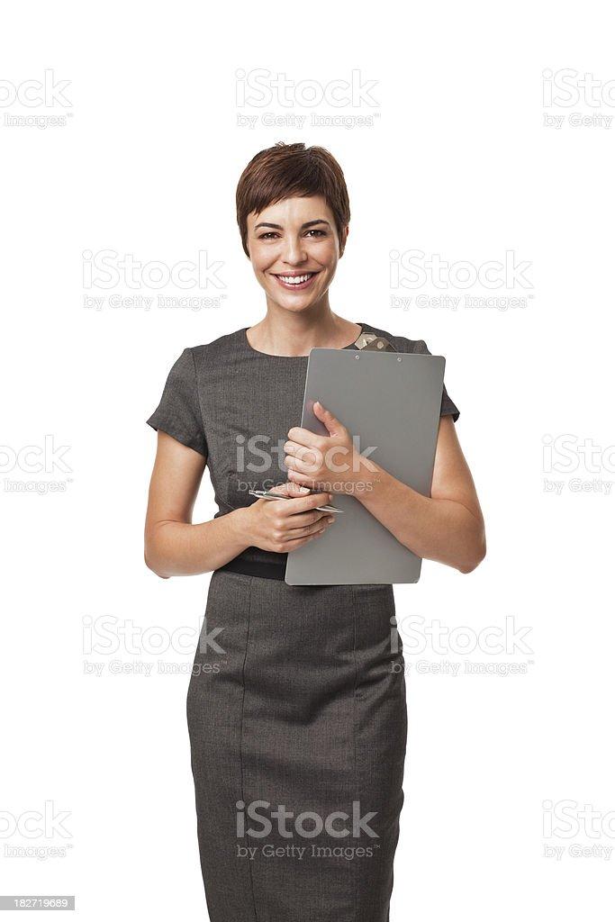 Erwachsener Geschäftsfrau Holding Zwischenablage, isoliert auf weiss – Foto