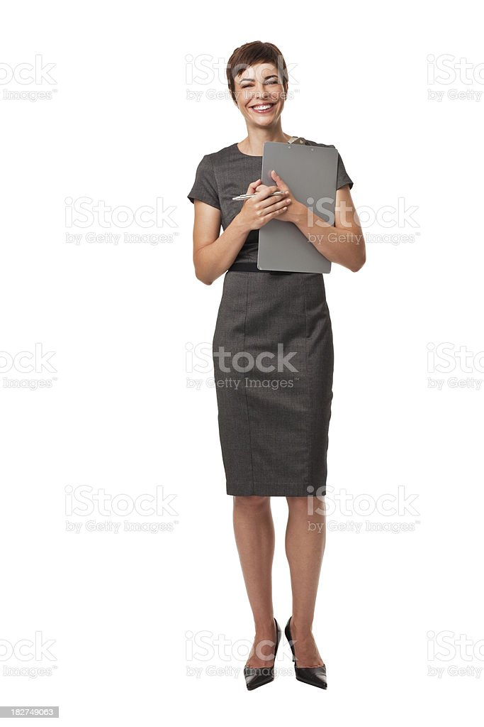 Adult Businesswoman Holding Clipboard Isolated on White royalty-free stock photo