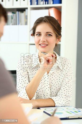 istock Adult caucasian fashion attractive businesswoman 1136623374