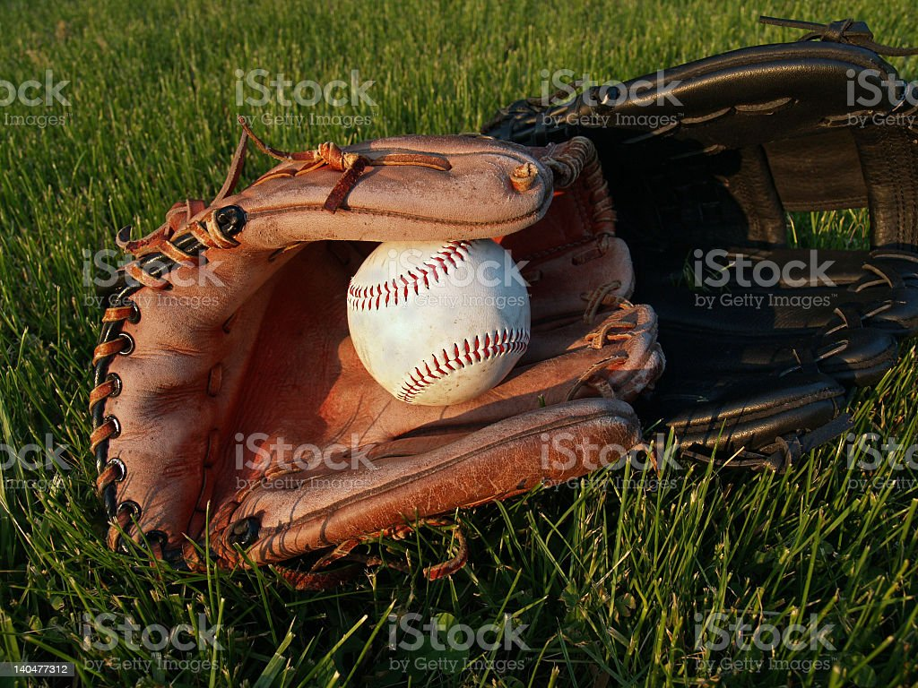 Adult & Child Baseball Gloves in Grass after a game stock photo
