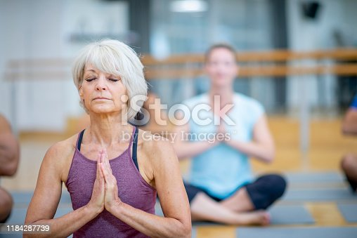 A group of multi-ethnic mature adults are sitting in a gymnasium on yoga mats in the prayer pose, with their eyes closed.  A senior woman is seen in front.