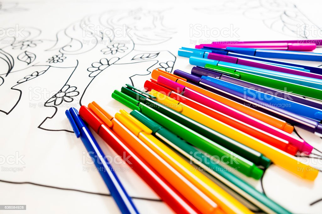Adult Coloring Book Design With Markers Stock Photo ...