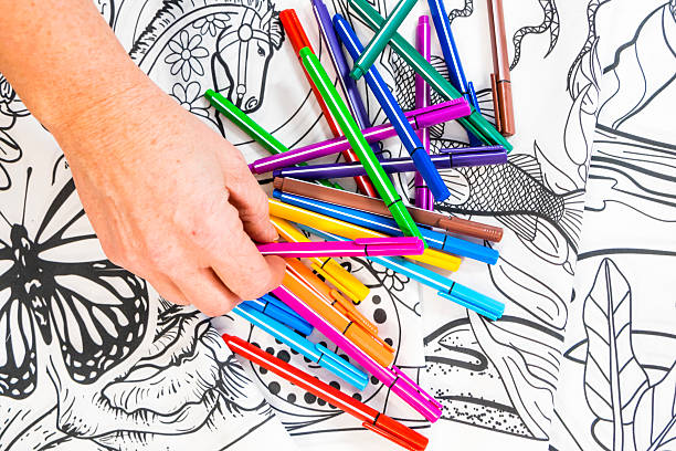 adult coloring book design with markers - ausmalbilder für erwachsene stock-fotos und bilder
