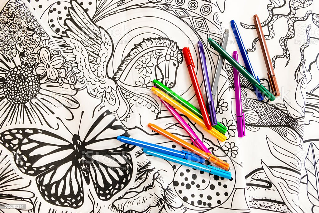 Adult Coloring Book Design With Markers stock photo
