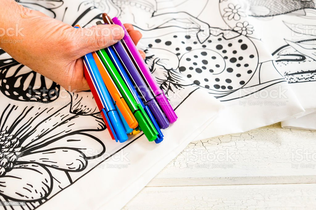 Adult Coloring Book Design With Markers Stockfoto und mehr ...