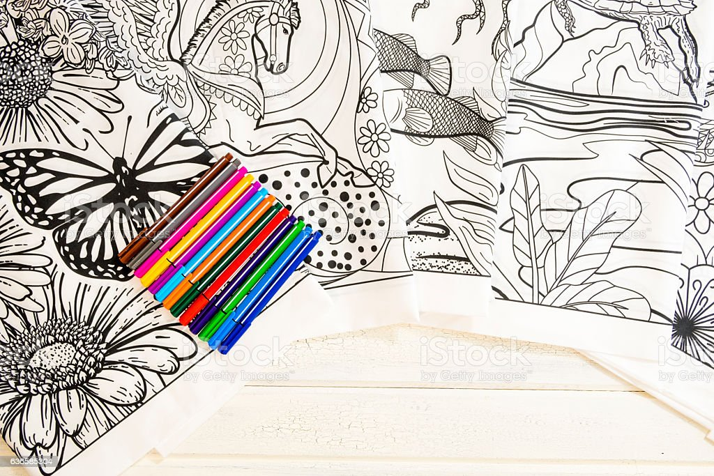 Adult Coloring Book Design With Markers Stock Photo - Download Image ...