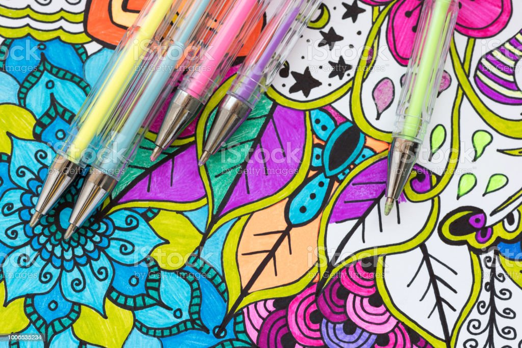 Adult Coloring Book New Stress Relieving Trend Art Therapy Mental