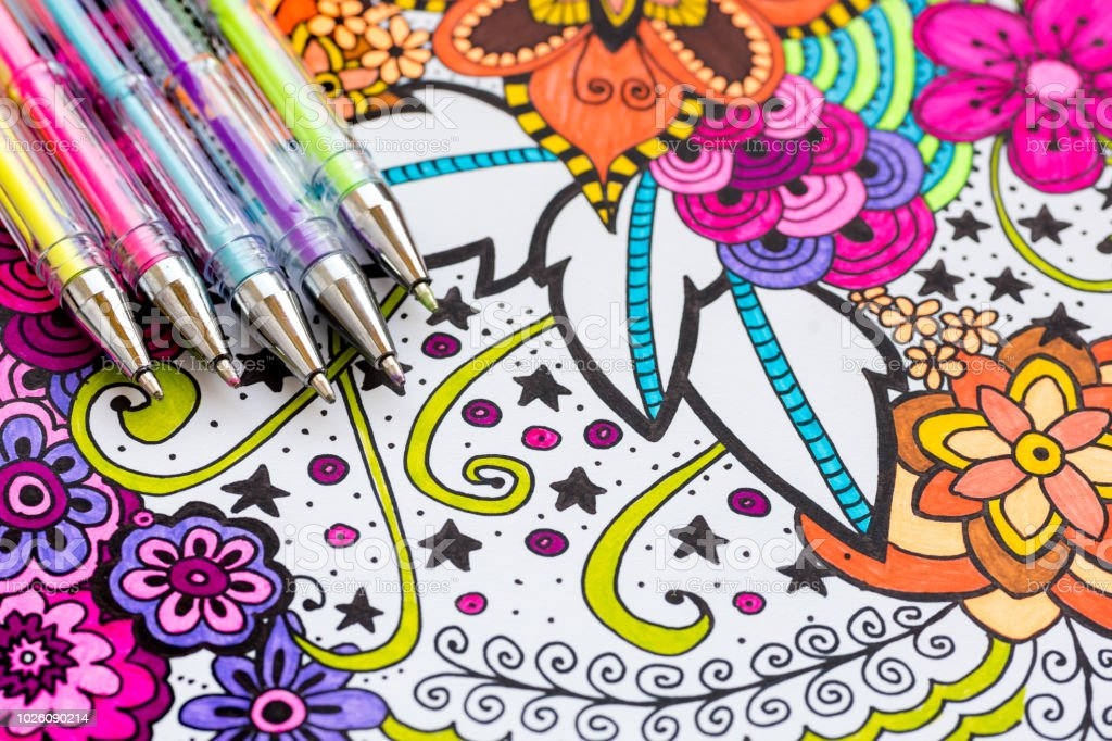 Adult Coloring Book New Stress Relieving Trend Art Therapy Mental Health Creativity And Mindfulness Concept Adult Coloring Page With Pastel Colored Gel Pens Flat Lay Background Stock Photo Download Image Now