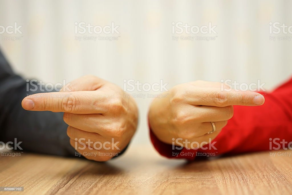 adult couple has difficulties in relationship stock photo
