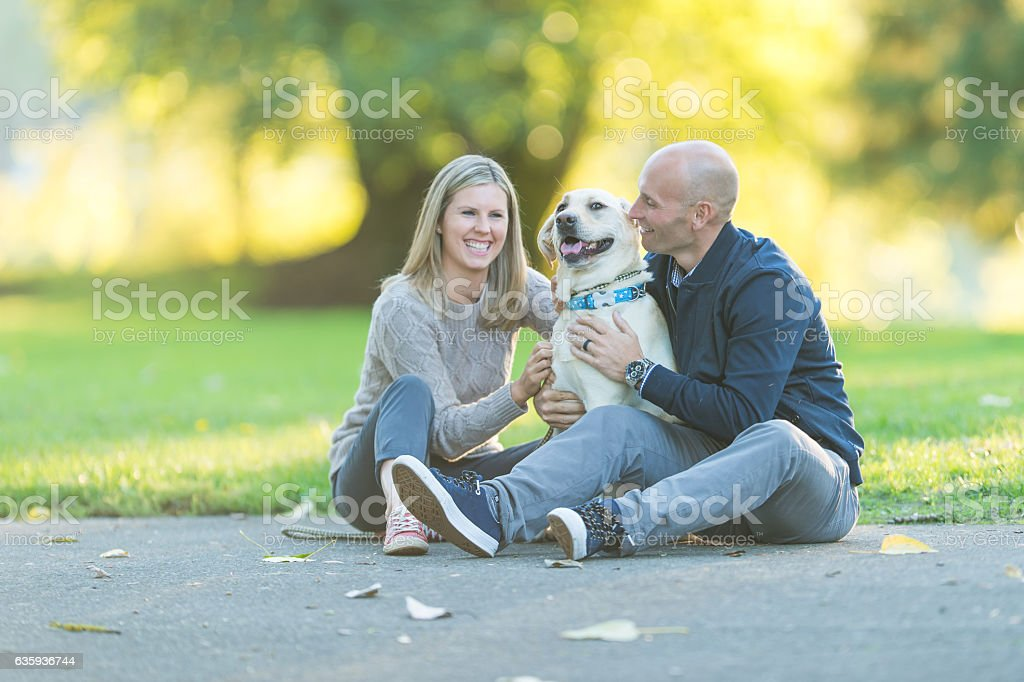 Adult couple playing with their dog in a park on a - foto de acervo