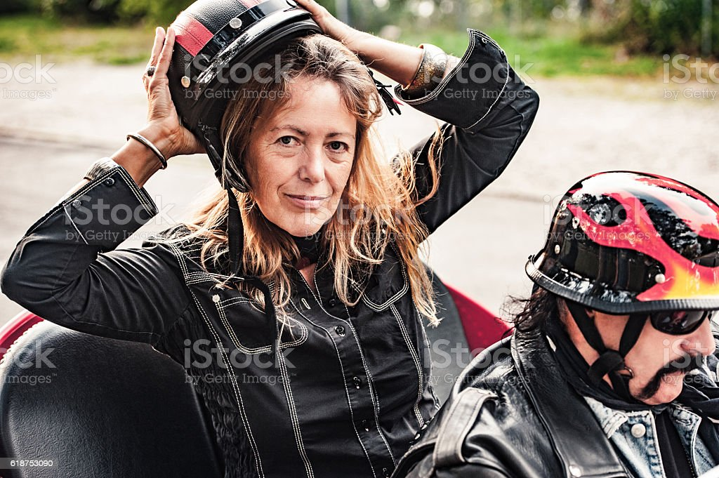 Adult Couple Portrait on Trike stock photo