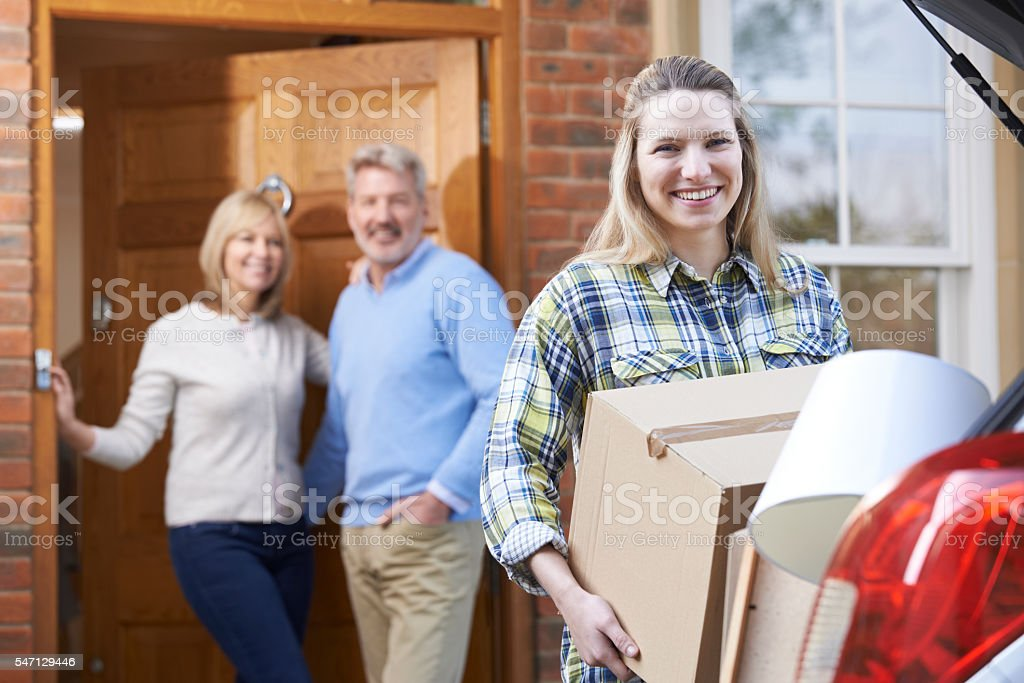Adult Daughter Moving Out Of Parent's Home stock photo