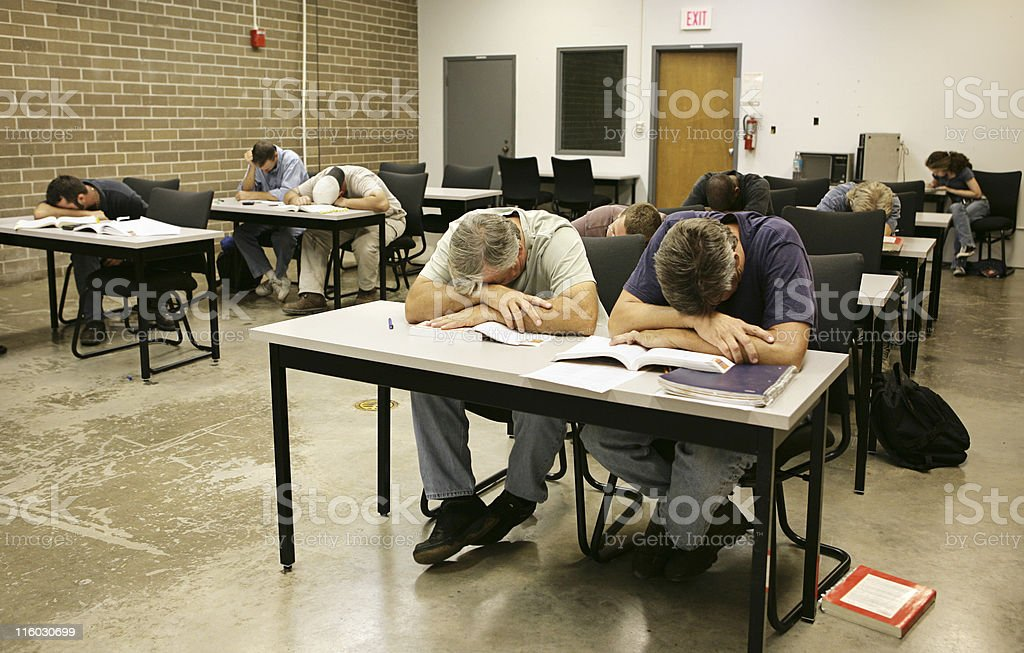 Adult Ed - Asleep in Class royalty-free stock photo