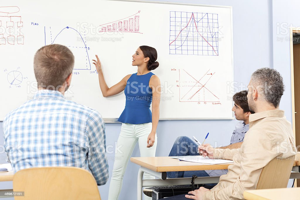 Adult Ed Group of adult student attending a job training. Female teacher explaining graphs drawn on whiteboard.  30-39 Years Stock Photo