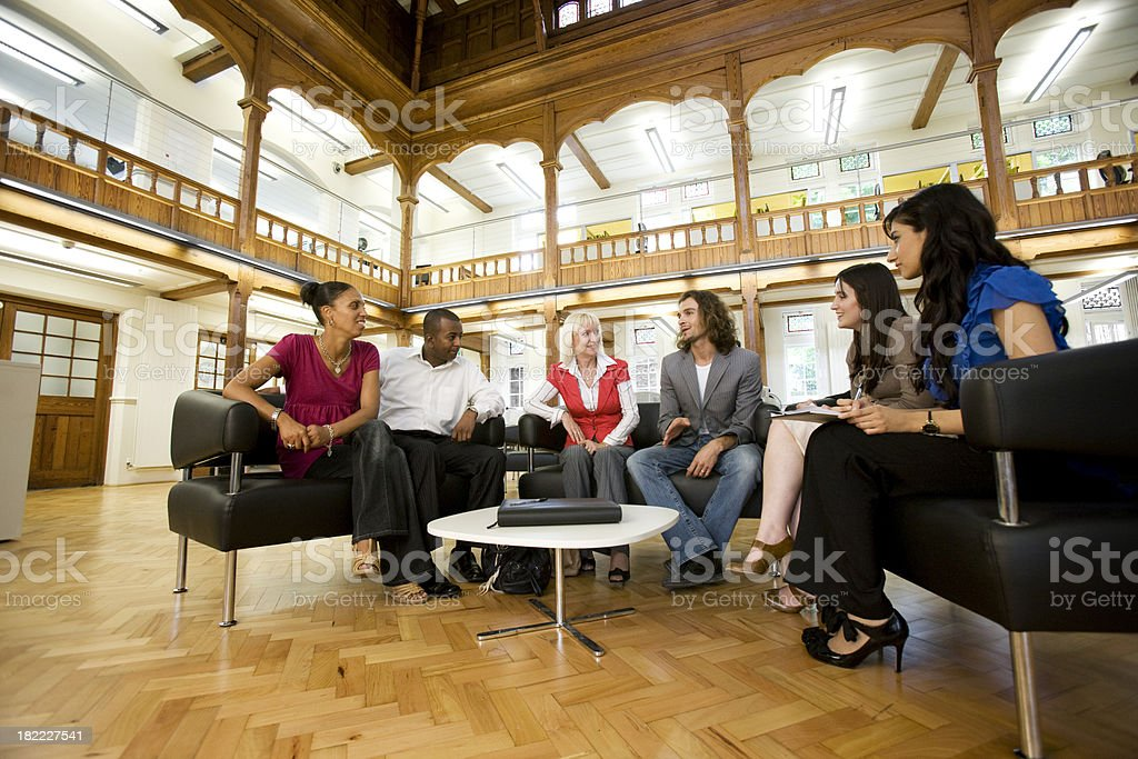 adult education business studies: college friends royalty-free stock photo