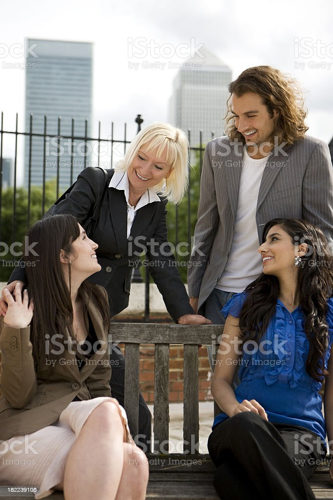 adult education business studies: friendly faces royalty-free stock photo