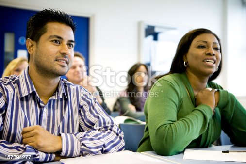 istock adult education: Enthusiastic mature students in the classroom 157394277