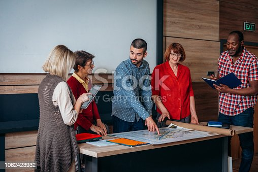 876965270 istock photo Adult education in urban planning for multi ethnic group 1062423932