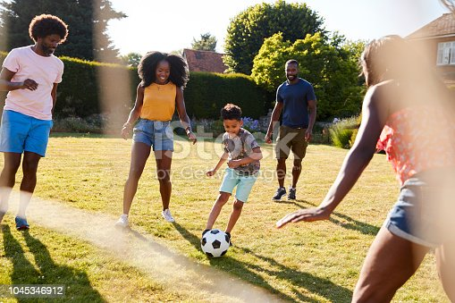 istock Adult family playing football with young son in garden 1045346912