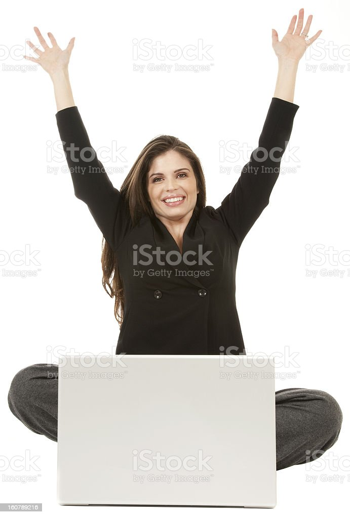 Adult female excited success laptop computer beautiful isolated 20 student stock photo