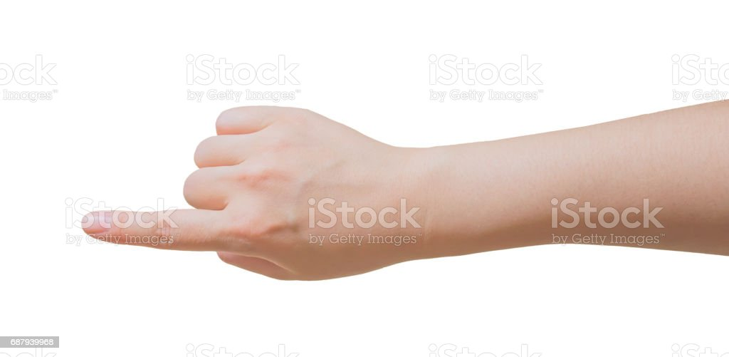 Adult female hand and wrist, with finger pointing vertically stock photo