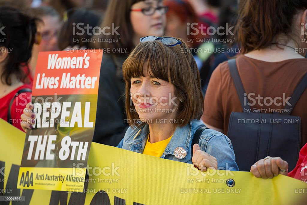 Adult female protesting pro-abortion stock photo