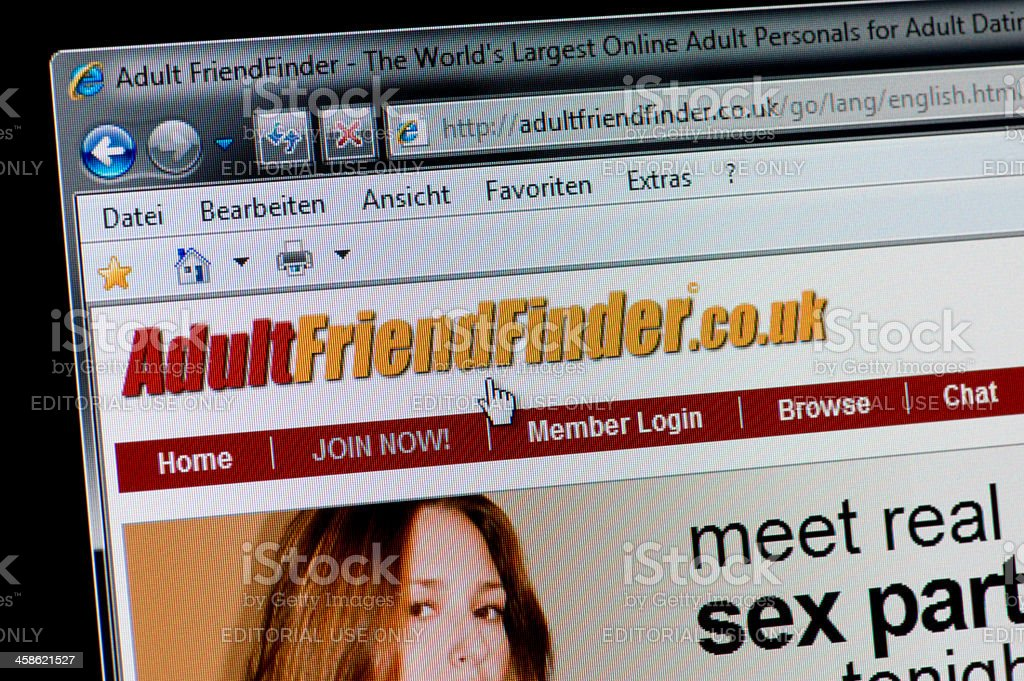 Adult Friend Finder - Macro shot of real monitor screen stock photo