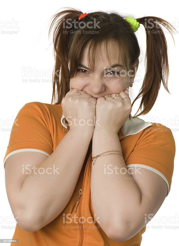 Adult girl with a two pony-tail royalty-free stock photo