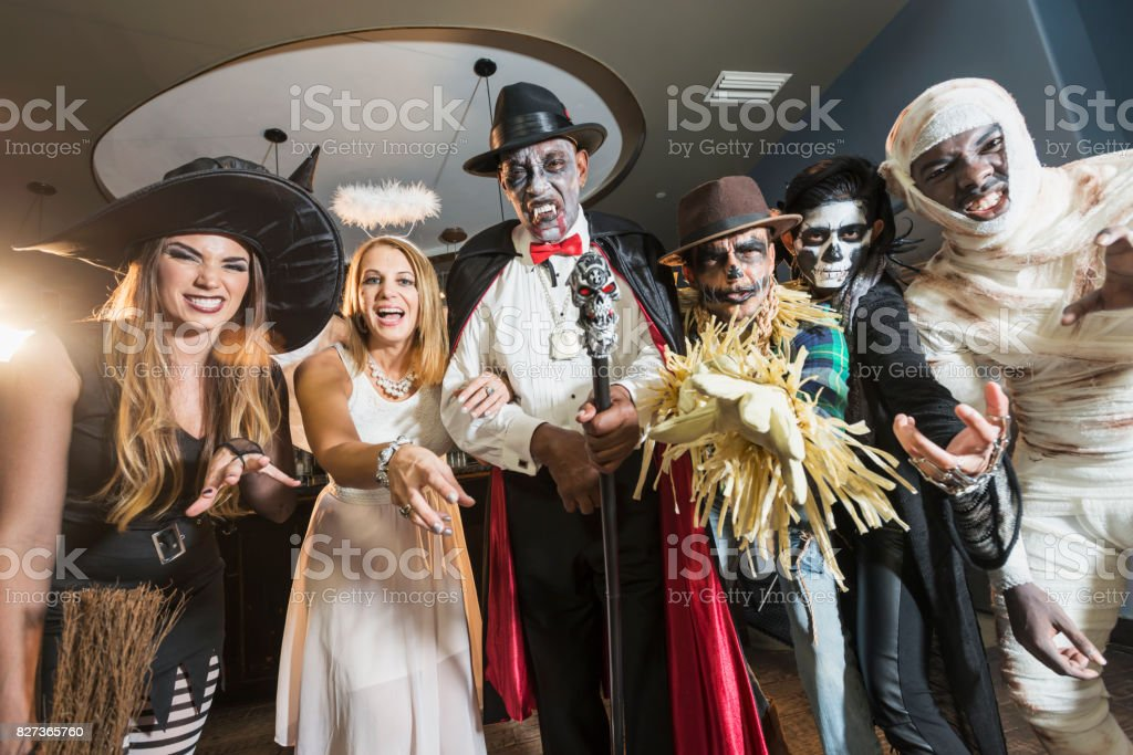 Adult halloween party stock photo