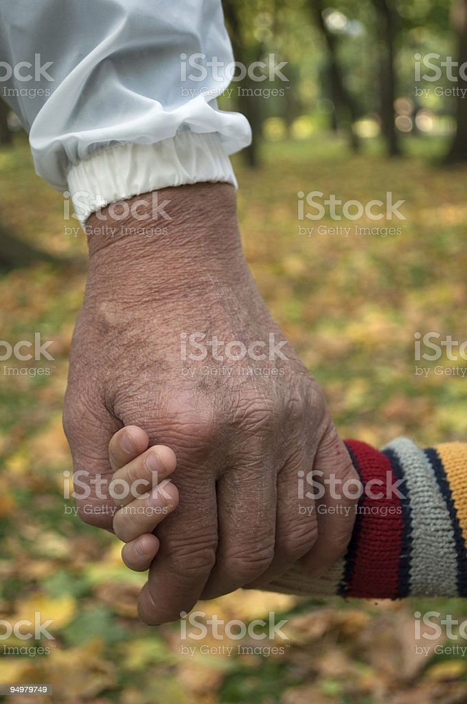 adult holding a child's hand royalty-free stock photo