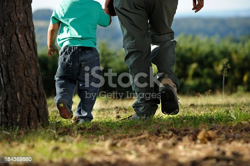 Portrait of an adult holding a child's hand and walking/ hiking.