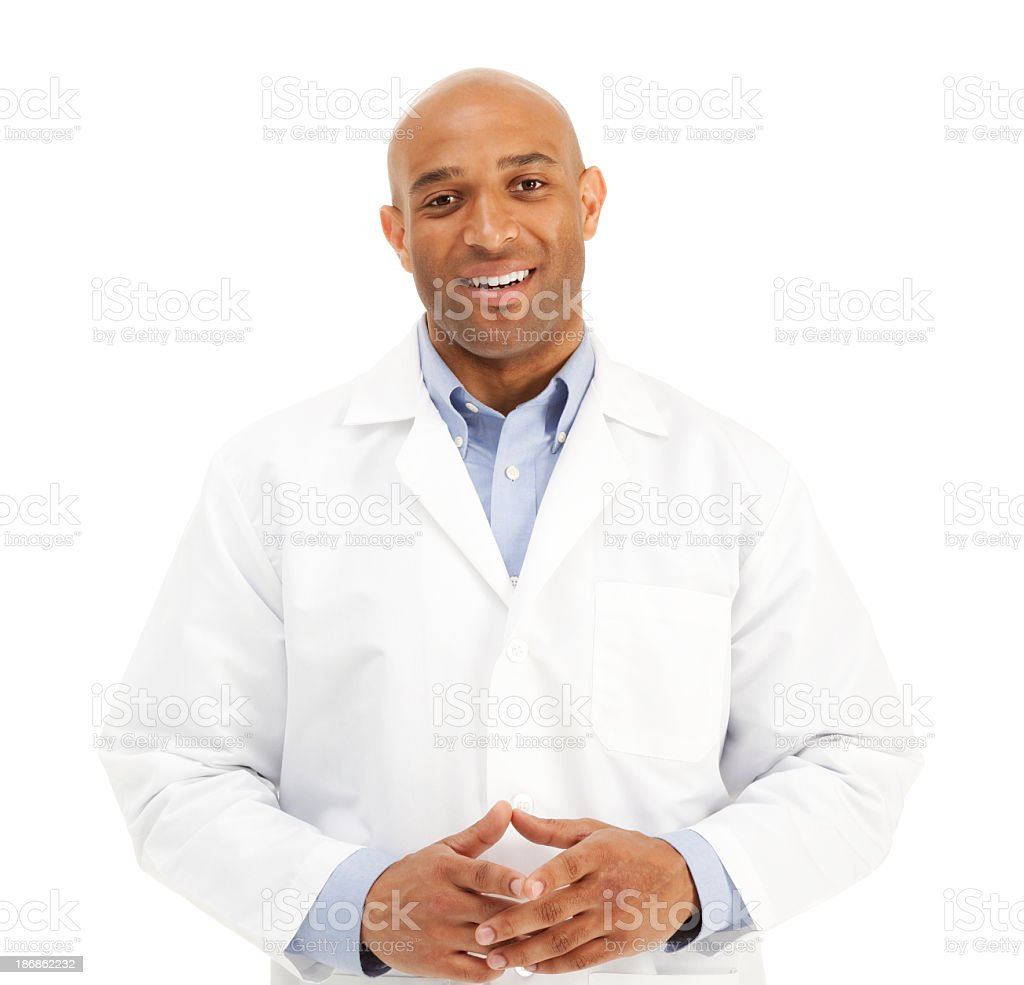 Adult male African American medical professional in lab coat royalty-free stock photo
