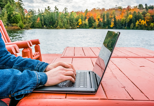 Young professional - digital nomad taking advantage of outdoors in autumn - working on laptop by the edge of a lake. Blurred background - autumn colors
