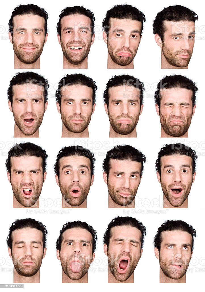 adult male short air and beard montage of 16 expressions royalty-free stock photo