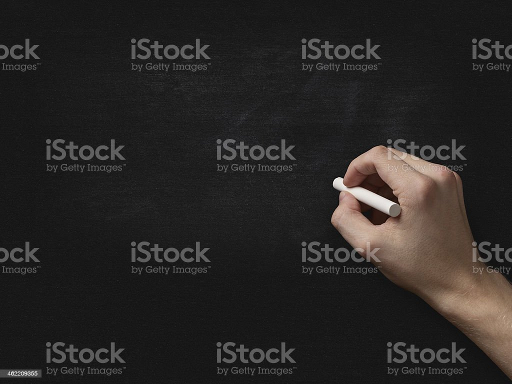 Adult Man Hand To Draw Something On Blackboard Stock Photo More