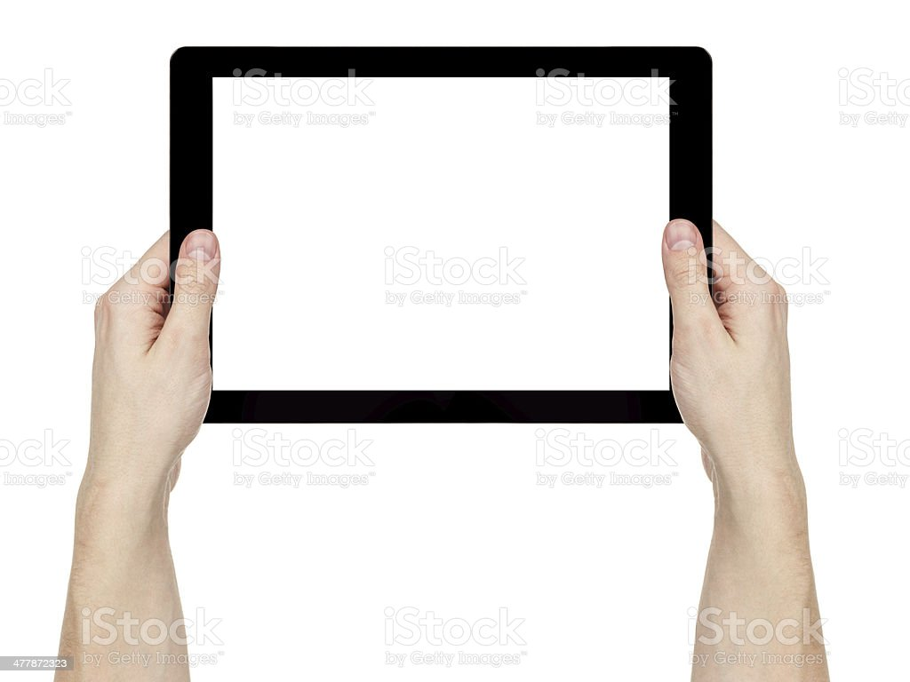 adult man hands holding generic tablet pc with white screen stock photo