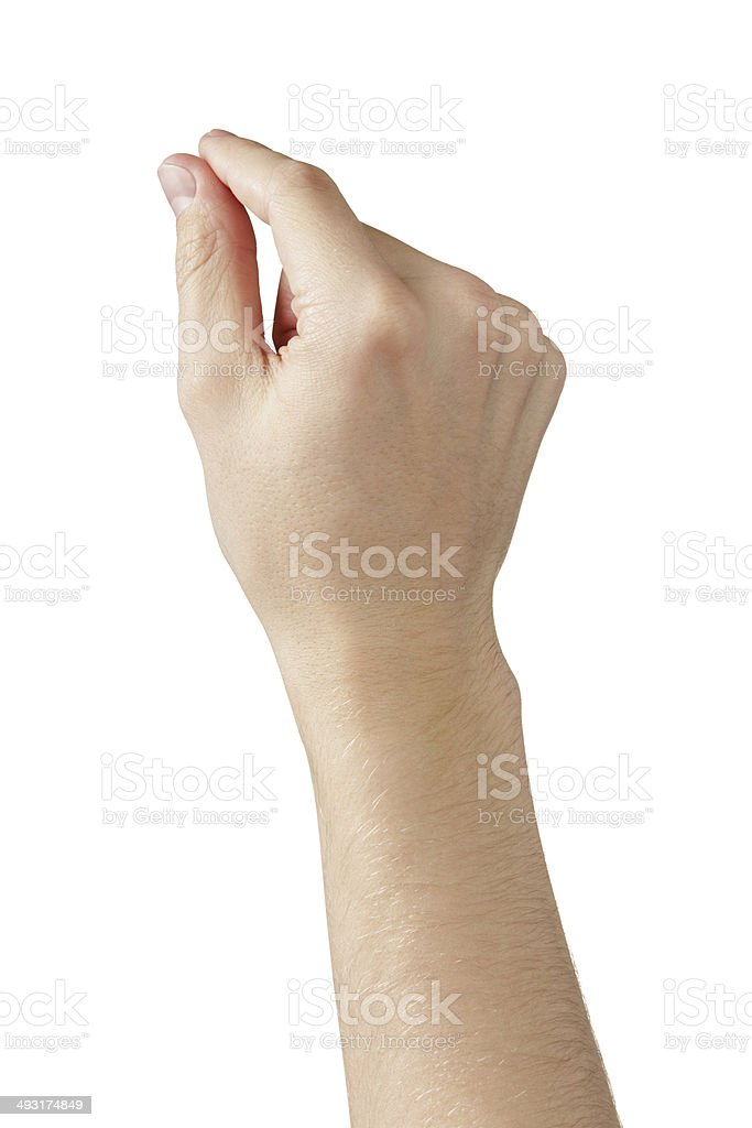 adult man hands measure or holding something stock photo