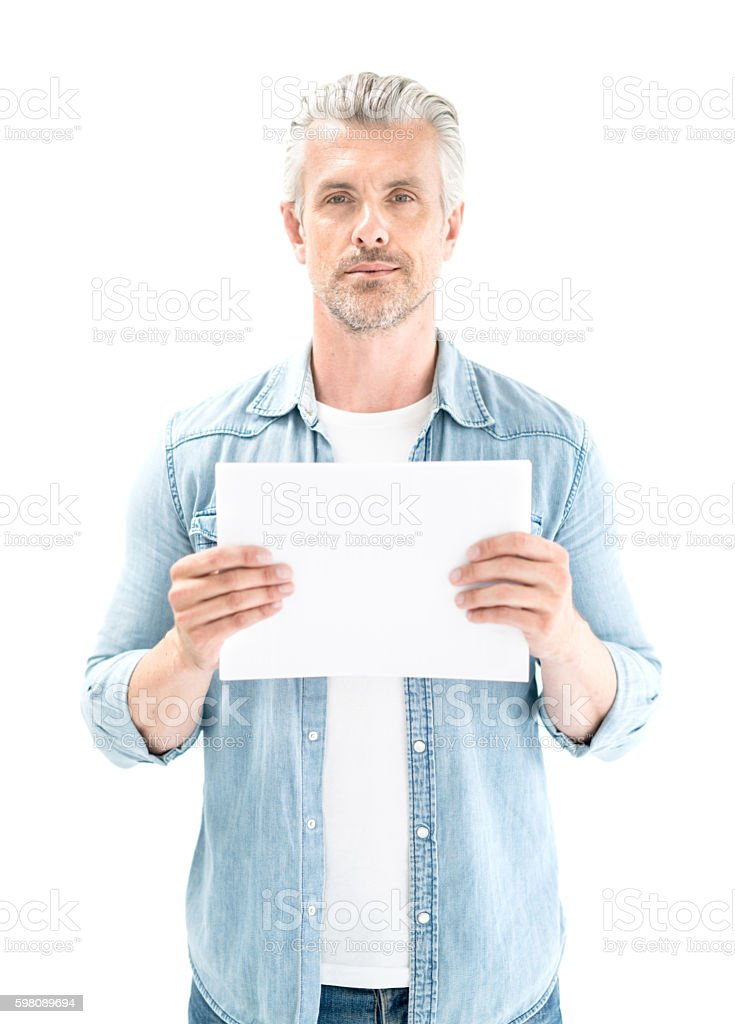 Adult man holding a paper stock photo
