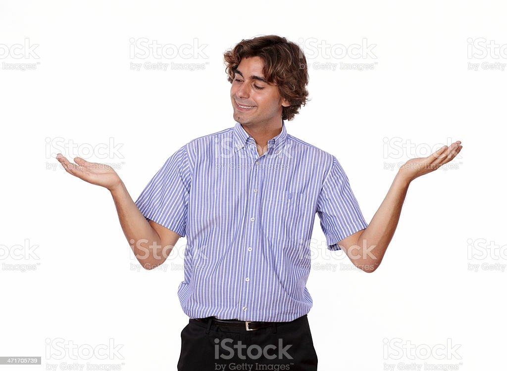 Adult man holding out his palms. royalty-free stock photo