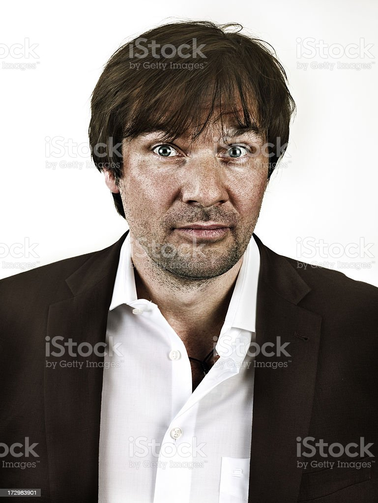 Adult Man looking straight into camera stock photo